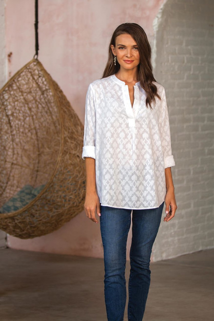 100% Cotton Long-Sleeved White Tunic 'Brocade Shadow'