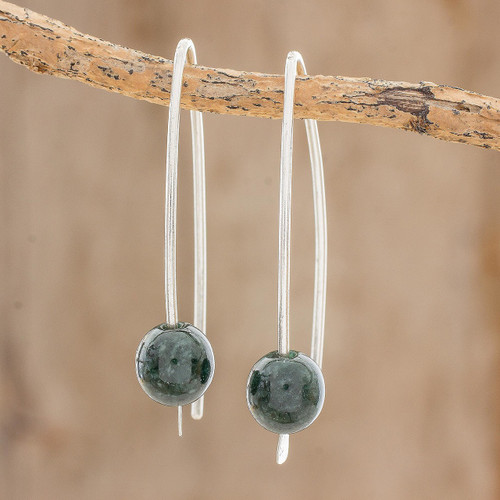 Dark Green Jade Drop Earrings from Guatemala 'Dark Green Chimera Beauty'