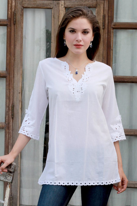 White Cotton Floral Embroidered Three-Quarter Sleeved Tunic 'White Simplicity'