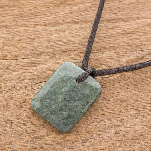 Green Jade Pendant Necklace with Cotton Cord 'Ancestral Glory'