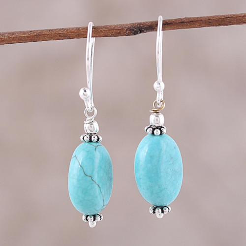 Sterling Silver and Recon Turquoise Dangle Earrings 'Cloudless Sky'