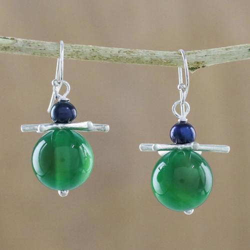 Green Chalcedony Karen Hill Tribe Silver Dangle Earrings 'Hover'