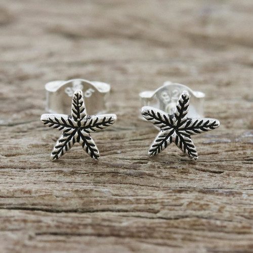 Sterling Silver Starfish Stud Earrings from Thailand 'Starfish Charm'