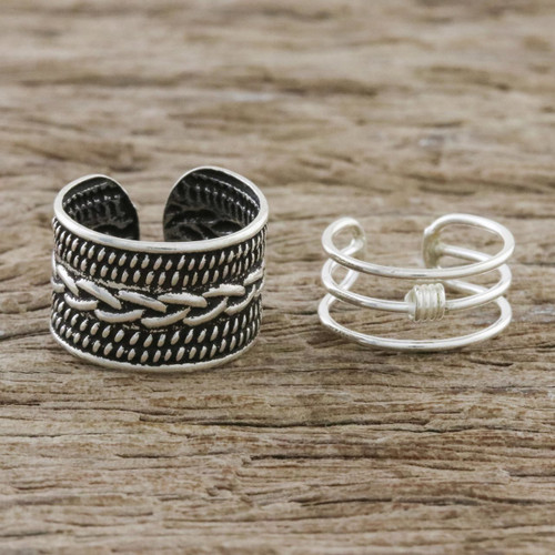 Braid Motif Sterling Silver Ear Cuffs from Thailand 'Ties That Bind'