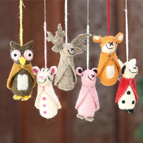 Animal-Themed Wool Ornaments from India (Set of 6) 'Winter Animals'