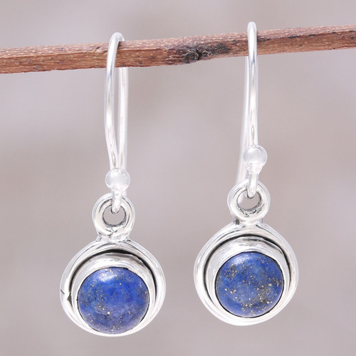 Round Lapis Lazuli Dangle Earrings from India 'Adorable Moon in Deep Blue'