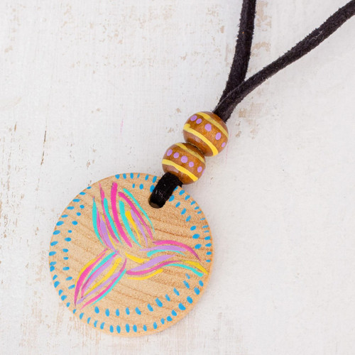 Bird Motif Pinewood Pendant Necklace from Guatemala 'Messenger of Love'