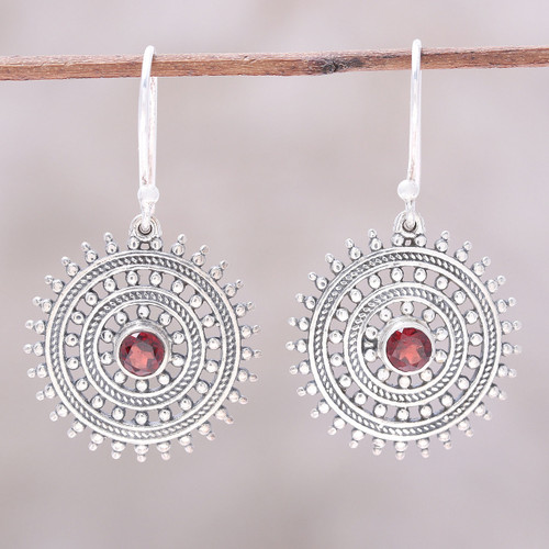 Garnet and Sterling Silver Concentric Circle Dangle Earrings 'Radiant Wheels'