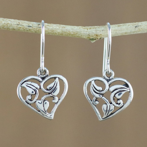 Leaf Motif Sterling Silver Heart Earrings from Thailand 'Natural Lover'