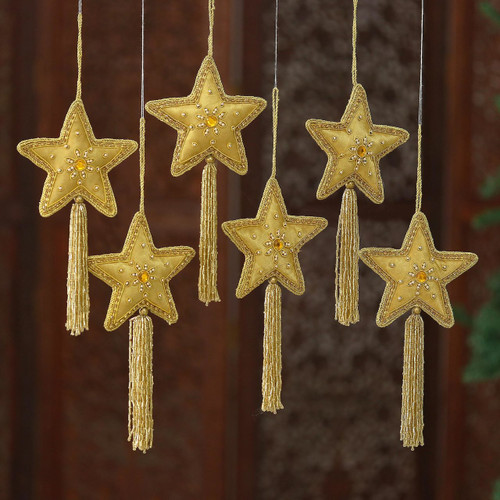 Embroidered and Beaded Gold Star Ornaments (Set of 6) 'Golden Star'