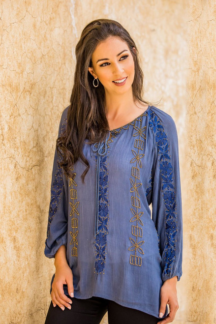 Embroidered Hand Beaded Blue Floral Tunic Top from India 'Jodhpur Blossom'