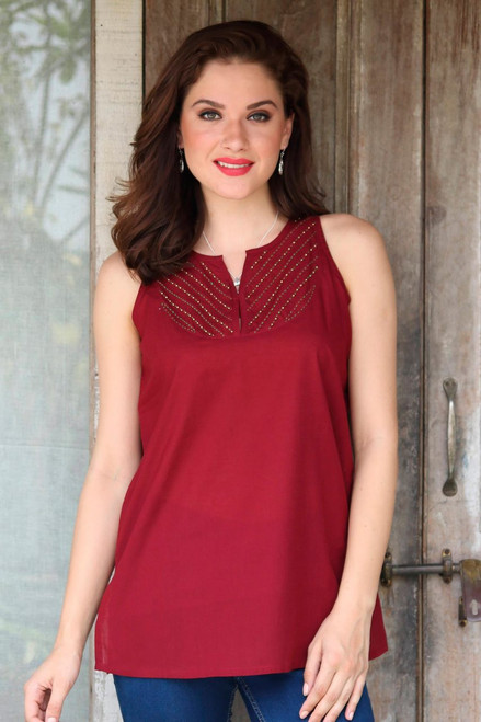 Glass Beaded Cotton Blouse in Burgundy from India 'Burgundy Charm'