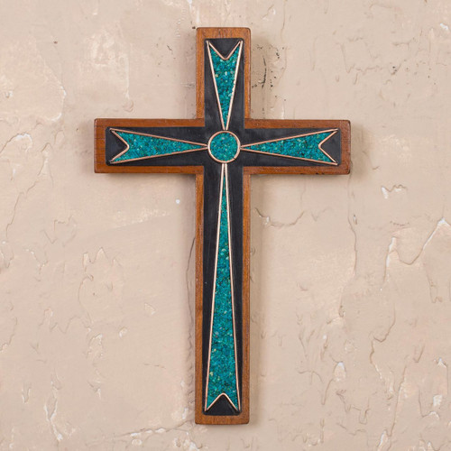 Handcrafted Wood and Chrysocolla Wall Cross from Peru 'Dynamic Cross'