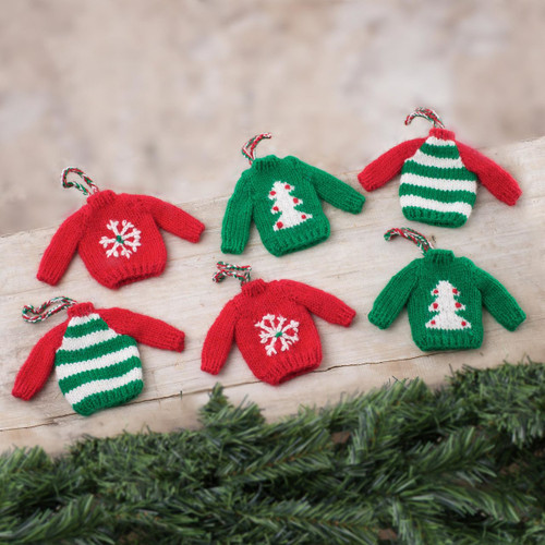 Knit Mini Sweater Ornaments from Peru (Set of 6) 'Christmas Comfort'