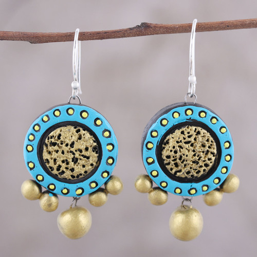 Handcrafted Blue and Gold Ceramic Circle Dangle Earrings 'Sun Catchers'