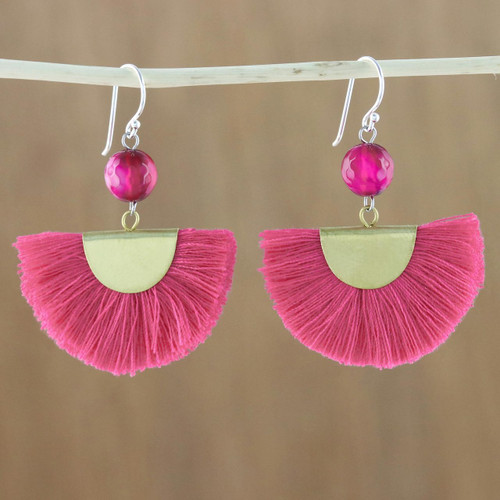 Quartz and Brass Bead Dangle Earrings with Cotton Fringe 'Festival in Pink'