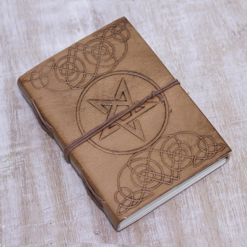 Handcrafted Encircled Star Embossed Beige Leather Journal 'Mystical Star'