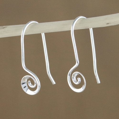 Spiraling Sterling Silver Drop Earrings from Thailand 'Tiny Spirals'
