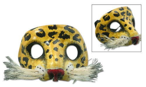 Unique Leather Wild Cat Mask 'Spotted Jaguar'