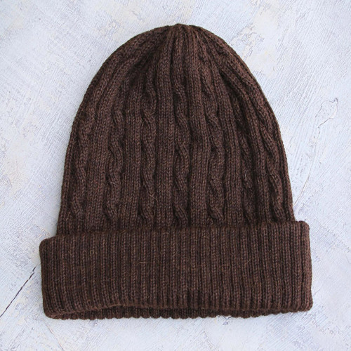 Hand Woven 100% Alpaca Wool Beanie Hat 'Brown Mountain Roads'