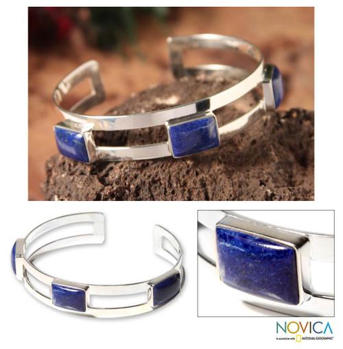 Lapis lazuli cuff bracelet 'Three Wishes'