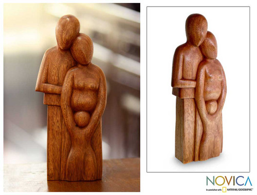 Original Wood Sculpture from Indonesia 'Happy Family'