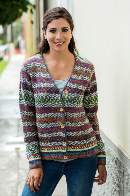 V-neck Alpaca Cardigan with Cedar Buttons 'Rainbow Mist'