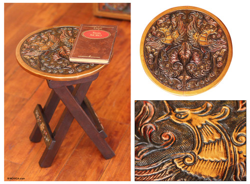 Unique Wood Leather Brown Accent Folding Table 'Bird of Paradise'