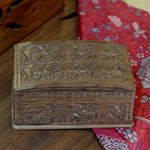 Wood Elephant Jewelry Box 'Elephant Forest'