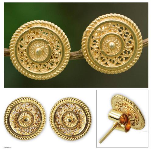 Fair Trade Gold Plated Filigree Earrings 'Illusion'