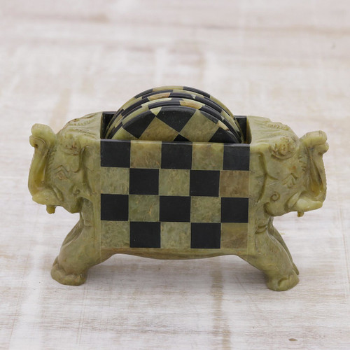 Hand Crafted Soapstone Coasters and Holder (Set of 6) 'Elephant Checkers'