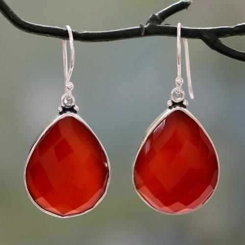 Sterling silver dangle earrings 'Ember Glow'