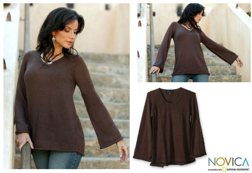 Brown Alpaca Blend Pullover Sweater 'Chocolate Charisma'