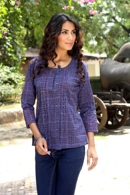 Cotton Embroidered Blouse Top from India 'Blue Riddles'