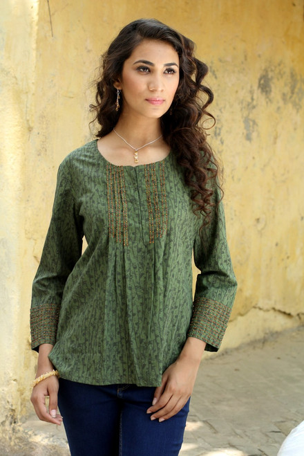 Cotton Embroidered Blouse Top 'Green Quest'