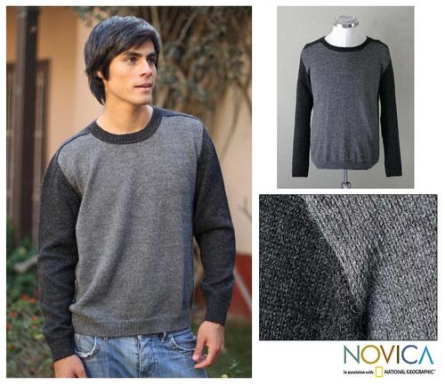 Men's Alpaca Wool Pullover Sweater 'Inca Legend'