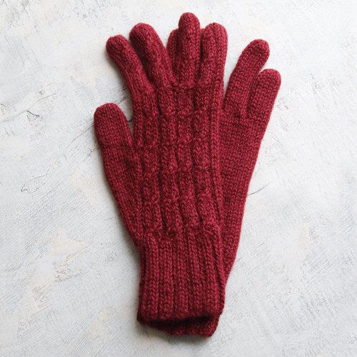 100% alpaca gloves 'Lush Rose'