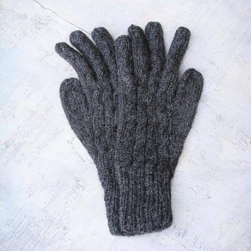 Alpaca Wool Gloves from Peru 'Lush Gray'