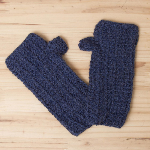Alpaca Wool Hand Knit Fingerless Mitts 'Blue Mountain'