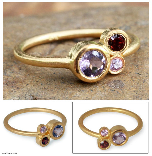 Gold Plated Multi-Stone Ring 'Chiang Mai Majesty'