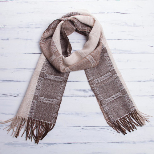 Hand Crafted Men's Alpaca Wool Patterned Scarf 'Nazca Warmth'