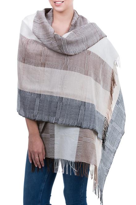 Unique Fine Alpaca Wool Neutral Color Shawl 'Quiet Atacama'