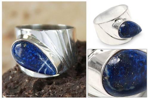 Peru 925 Silver Ring with Lapis Lazuli 'Huacho Heritage'