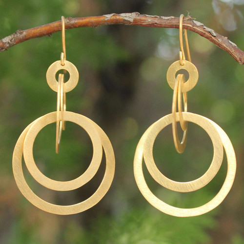 Thai 24k Gold Plated Dangle Earrings 'Mekong Sun'