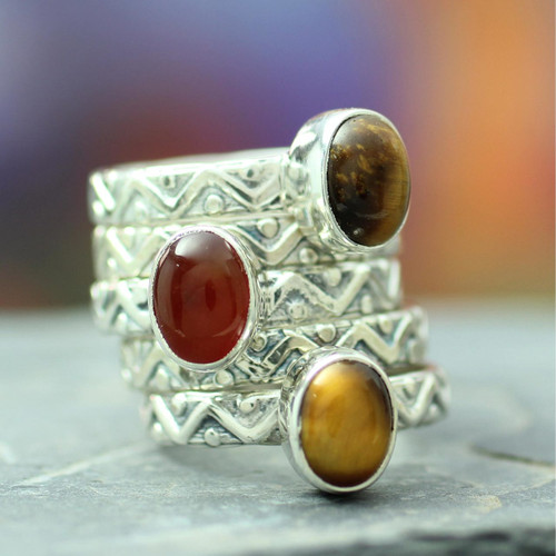 Sterling Silver Carnelian and Tigers Eye Stacking Rings 'Goddess of Fire'