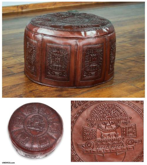 Fair Trade Traditional Leather Pouf Ottoman Cover 'Inca Light'
