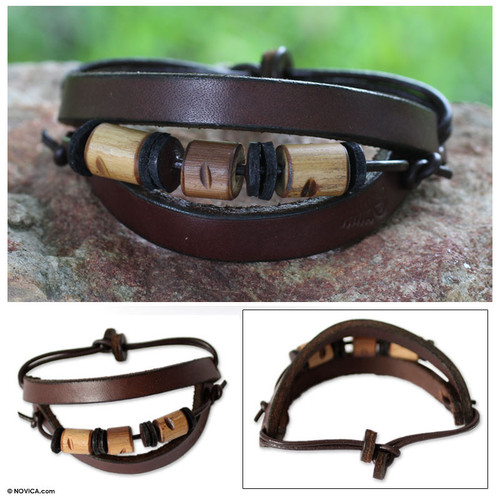 Men's Handcrafted Leather and Bamboo Wristband Bracelet 'Double Up'