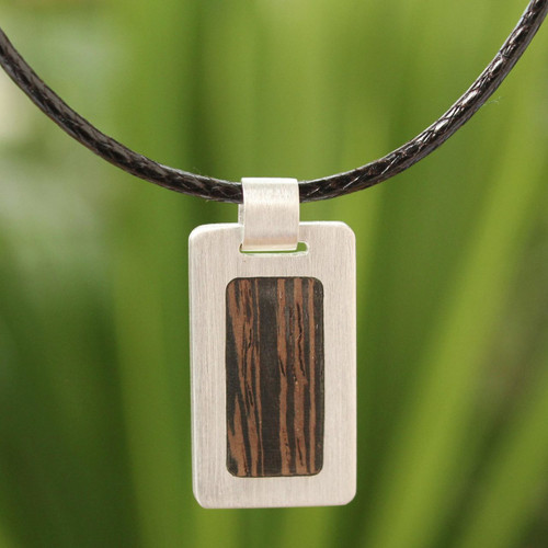 Men's Wood Pendant Necklace 'Urban Hero'