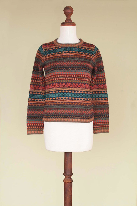 Peruvian Alpaca Wool Sweater 'Autumn Medley'