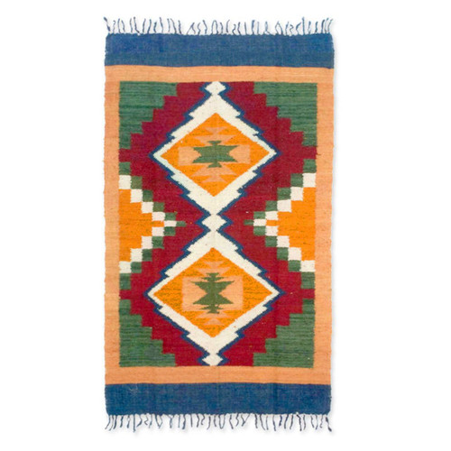 Hand Woven Geometric Wool Area Rug 'Sierra Song'